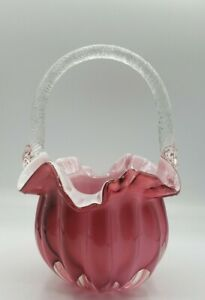 """Vintage 8-3/4"""" Art Glass Basket Cranberry w/white Cased Glass Clear Handle"""
