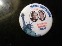"Idaho Libertarian Libertarians 2000 President Campaign 1.75"" Pin Back Button"