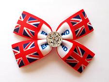 Handmade Girl Kid Children Uk Union Jack Flag ribbon Hair Bow Clip Bobble