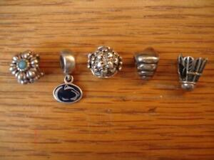 AUTHENTIC 3 PANDORA  & 1 CHAMILIA + 1 MISC. STERLING SILVER CHARMS 5 PIECE LOT