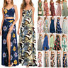 Womens Boho Maxi Long Dress Summer Beach Holiday Evening Party Cocktail Sundress
