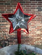 Vintage STAR Tree Topper Red Aluminum,Silver Tinsel For Sm Feather Tree,5 1/2""