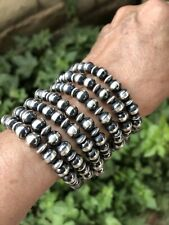 Navajo Sterling Silver  Stretchy 8MM Beaded Bracelet