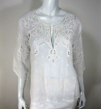 CALYPSO ST. BARTH LONG SLEEVE BLOUSE SIZE S SMALL SOLID WHITE