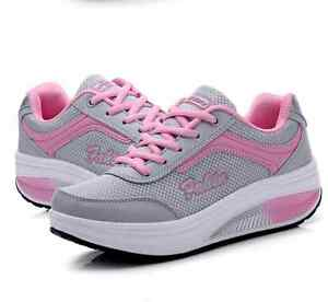 Womens Fitness Mesh Sport Trainers Girls Shape Step Up Toning Walking Gym Shoes