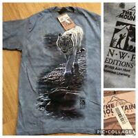 Vintage The Mountain 1999 Alan Hunt Tiger Tye Dye T-Shirt Deadstock Size Medium