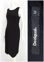 Womens Desigual Evening Black Dress Bodycon Stretch Sleeveless Beaded Size M