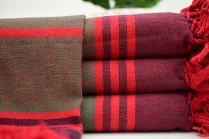 40x67 Beach Towel, Turkish Towel,Bath Towel,Khaki Green and Burgundy Mtn-Kzl
