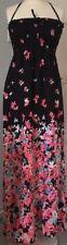 M&s Summer Maxi Dress Bandeau or Halterneck Black Pink Floral Size 14 EUR 42