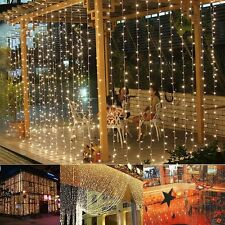 224 LED 9.8ftx6.6ft Christmas Xmas String Fairy Wedding Curtain Light Warm White
