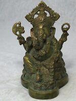 Small Antique 19th Century Old Bronze Elephant God Ganesha Buddha Statue