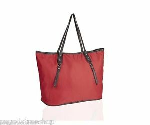 New Lightweight Nylon Shopper Bag - Brown Faux Leather Trim in Pink Beige or Red
