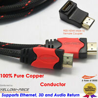 Premium Braided 6FT V1.4 HDMI Cable + 90D HDMI Right Angle Adapter Coupler 1080P
