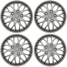 "4 Pc Set of 14"" MATTE GUNMETAL Hub Caps Skin Rim Cover for OEM Steel Wheel"