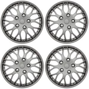 "4 Pc Set of 14"" MATTE GUNMETAL Hub Caps Skin Rim Cover for OEM Steel Wheel"