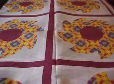 King Size Cheater Quilt Top Pinwheel Burgundy 90 x 108 (3 Yards)