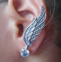 925 Sterling Silver -Balinese Handcrafted EAR CUFF Wing Style With Zircon
