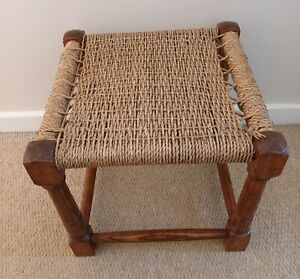 Vintage Small Wooden Wicker Rattan Seagrass Stool