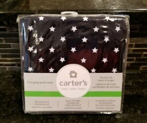 Carter's Changing Pad Cover Printed In Navy Blue Stars Fits Standard Pad New