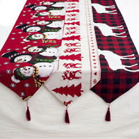 Home Elk Printed Linen Tablecloth Table Runner Christmas Decoration Cover