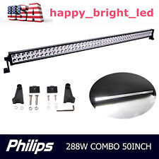 50INCH 288W Led Light Bar Spot Flood Work Driving JEEP Offroad Lamp Philips ATV