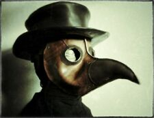 Brown Genuine Leather mask Plague doctor bird mouth mask Halloween cosplay masks