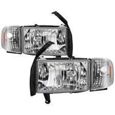 94-01 Dodge Ram 1500 2500 3500 Titanium Clear Clear Headlight+Corner Signal Lamp