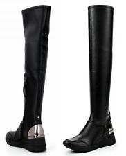 Michael Kors Boots Ace Stretch High - Over the Knee Stretch Leather Black NEW