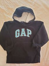 EUC Noys Sz Small 6/7 GAP Kids Black Fleece Hooded Sweatshirt, blue lettering