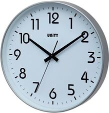 "UNITY FRADLEY SILENT SWEEP NON-TICKING WALL CLOCK IN SILVER 12"" 30Cm"