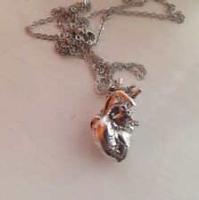 Large Gothic Detailed Anatomical Heart Zombie Necklace Silver Halloween