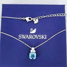 New Authentic SWAROVSKI Rhodium Aqua Sparkle Crystal Pendant Necklace 5516483