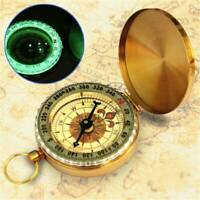 Portable Classic Brass Survival Camping Compass Outdoor Hiking Pocket Watch Map.