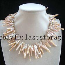 "freshwater pearl pink branch reborn keshi necklace 17"" nature wholesale beads gi"