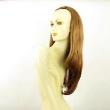 Demi-tête, demi-perruque lisse 62cm blond foncé cuivré ref 019 en g27