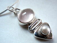 Rose Quartz Cultured Pearl 925 Sterling Silver Pendant New Corona Sun Jewelry