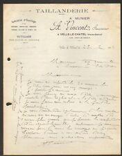 """VELLE-LE-CHATEL (70) TAILLANDERIE / OUTIL """"A. MUNIER / A. VINCENT Succ."""" en 1934"""