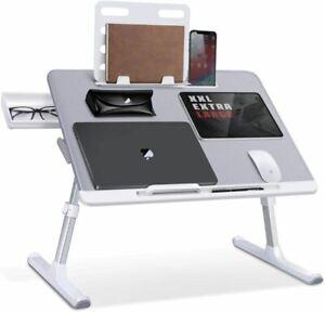 Laptop Bed Tray Desk, SAIJI Adjustable Laptop Stand for Bed, Foldable Laptop Tab