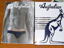 3 slip AUSTRALIAN Taglia 6/XL BLU AVION GRIGIO cotone elastico art.211 ADERENTI