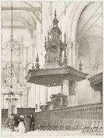 Blick in das Innere der Nieuwe Kerk, Amsterdam, Holland, 19. Jh., Litho