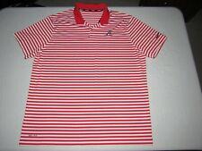 Atlanta Braves Nike Golf Men's Dri-Fit Red White Striped Polo Shirt Size 2XL
