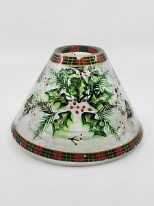 Yankee Candle LARGE Jar CRACKLE SHADE HOLLY BERRY PLAID CHRISTMAS