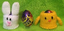 KNITTING PATTERN  - Easter Bunny and Chick Holders choc cover fits Creme Egg