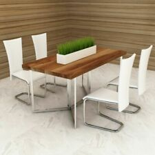 vidaXl 4 pcs Modern Kitchen Dining Chairs Seating Furniture White Faux Leather