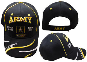 U.S. Army Star Defend Freedom Swirl Black Embroidered Cap Hat LICENSED