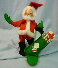 "Annalee Dolls 7"" Santa Hanging Up Stocking 1980 Christmas R-11 AL570"
