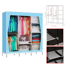 Triple Canvas Wardrobe Hanging Clothes Rail, Storage Fabric Extra Large Blue CE