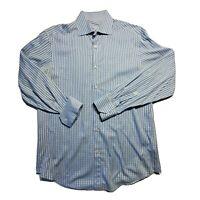 Bugatchi Uomo Mens Flip Cuff Long Sleeve Button Up Casual Dress Shirt  Size 16