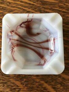 """Vintage Antique Akro Agate Ashtray Dish Red & White Oxblood Square Small 2 3/4"""""""