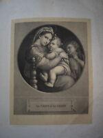 RAPHAEL (1483-1520) GRANDE LITHO VIERGE MARIE JÉSUS SAINT JEAN BAPTISTE 1870